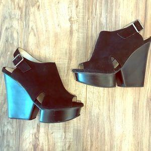 Shoemint Platform Wedge Leather Sandal